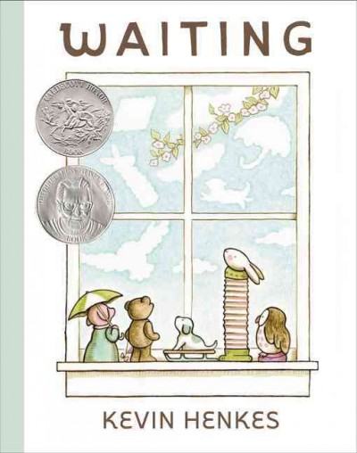 Waiting by Kevin Henkes book cover. Toys sitting in a window looking out.