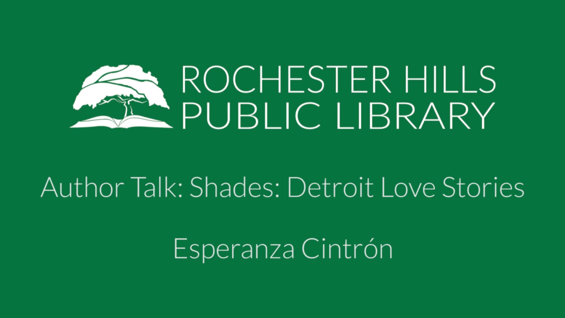 Author Talk: Shades: Detroit Love Stories with Esperanza Cintrón