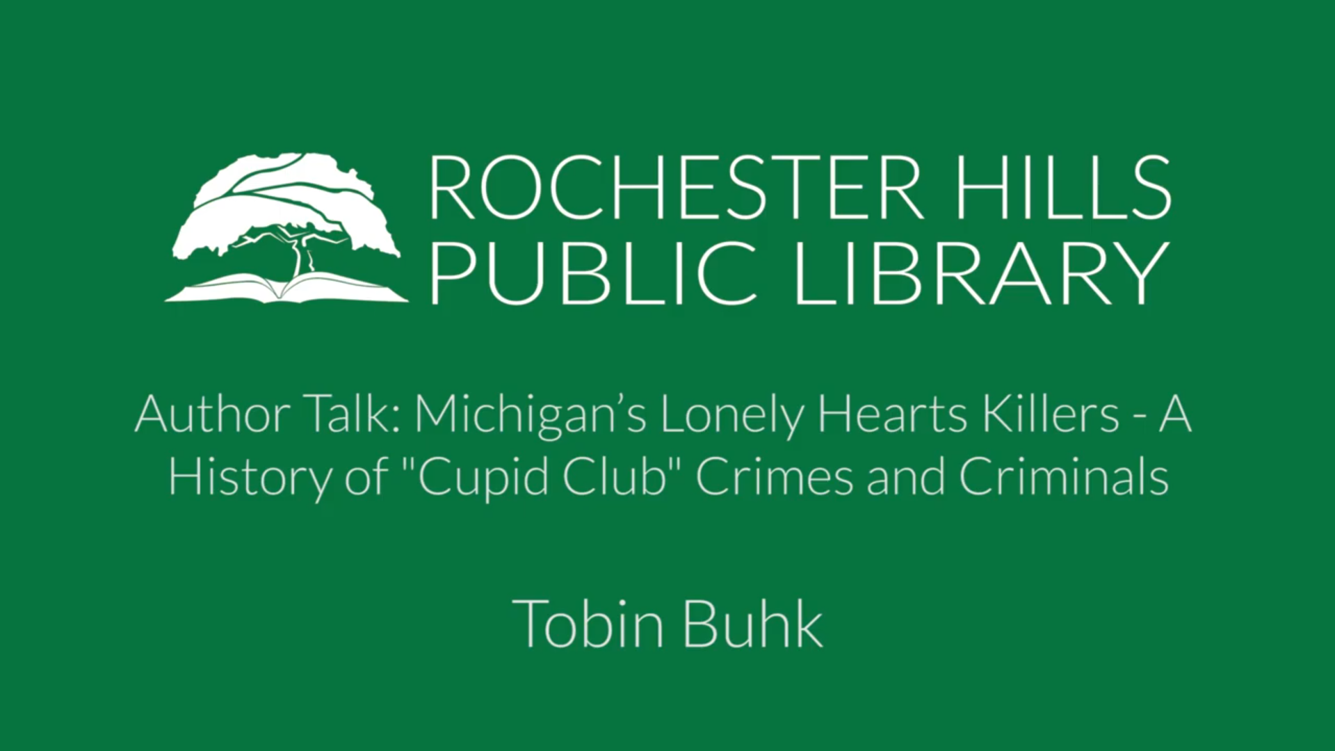 Author Talk: Michigan's Lonely Hearts Killers