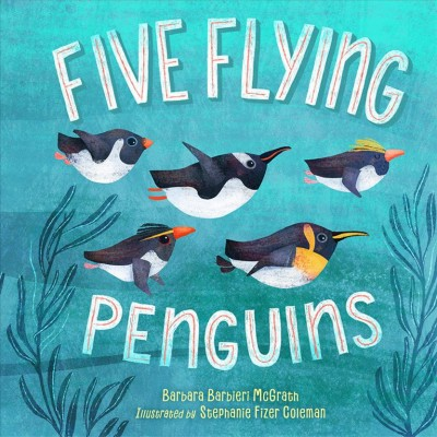 Five flying penguins book cover. Give penguins glide under water