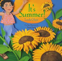 It's summer book cover. An illustration of a child in a sunflower field and a big yellow sun.