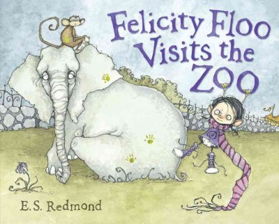 Felicity floo visits the zoo book cover. A girl in a long purple scarf hangs off the Os in the word zoo. A tired looking elephant sits with a monkey sitting a top his head.