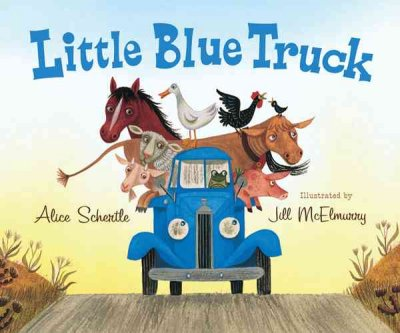 little blue truck book cover. Barnyard animals sit in the bed of a blue truck, they spill over the sides. The truck is driven down the road by a frog