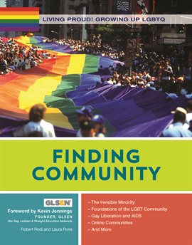 Finding community book cover. A photograph of an enormous pride flag held by hundreds of people.