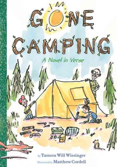 Gone Camping book cover. Two kids are helping their grandfather set up a tent. There is camping gear spread everywhere and a fox is about to pounce on a chipmunk
